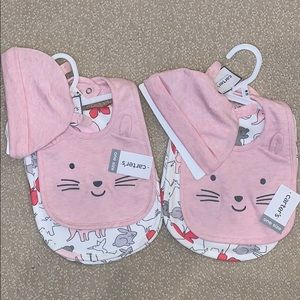 Twins Set Carter's burp cloth bib hat baby girl